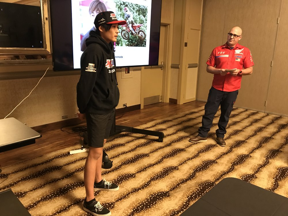 To emphasize the importance of this model to Honda's amateur-racing program, we included Amsoil Honda rider Jo Shimoda in the presentation and ride event.