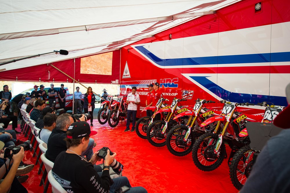We organized a pre-season media day at Honda's private test track to generate coverage ahead of the opener, and invited the GEICO Honda 250 effort to join the in-house 450 squad.  Image: Simon Cudby