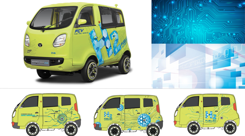 Livery design for Hydrogen-cell based concept car featured in Auto Expo 2016