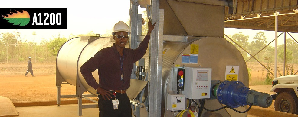 Composteur Rocket A1200 dans campement d'extraction pétrolière