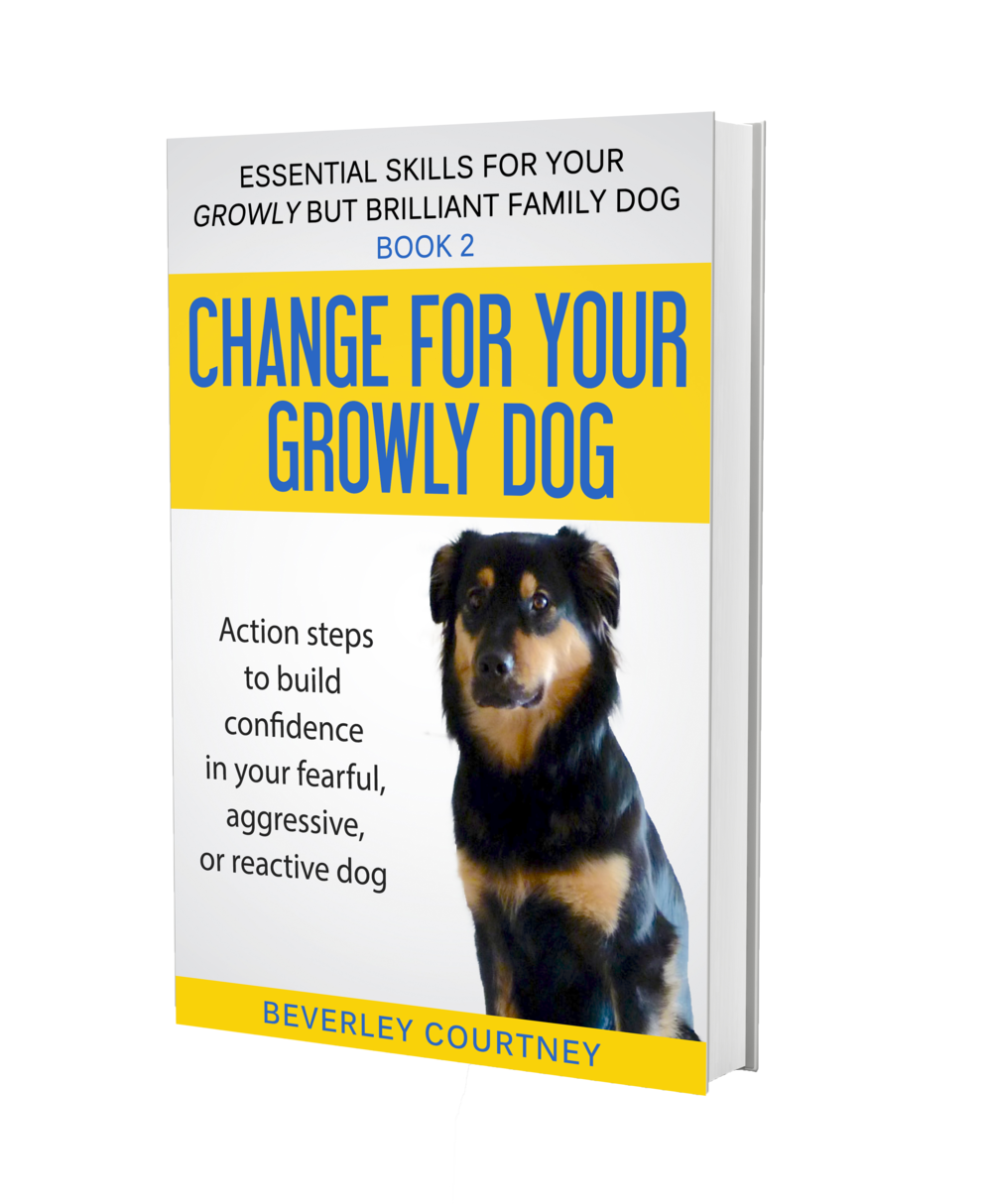 Dog training book aggressive dog, reactive dog | Change for your Growly Dog - Book 2 by Beverley Courtney  | #aggressivedog, #aggressivedog, #dogtraining, #growlydog | www.brilliantfamilydog.com/books|