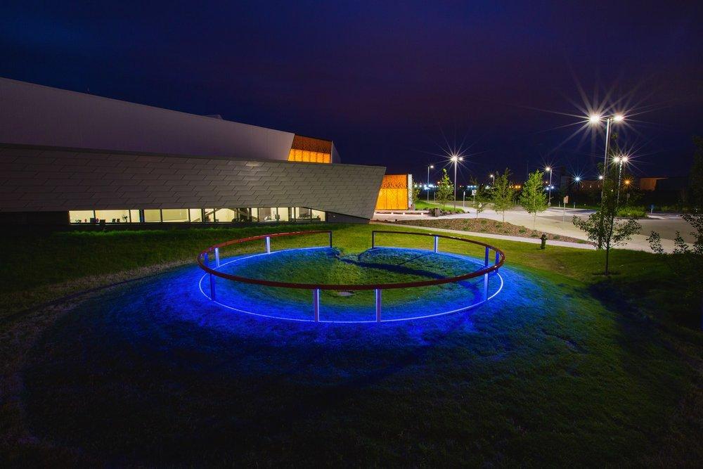 Matthew Geller, public art. LED lights, Calgary, Calgary Public Art, public art, civic art, Great Plains Recreational Center, hockey, ice hockey