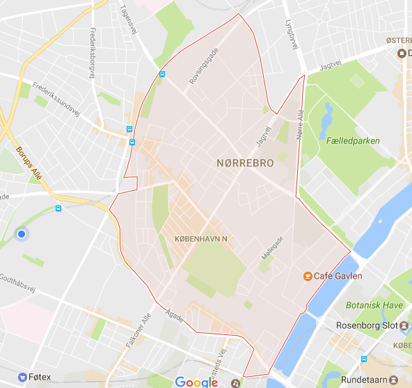 The red is the district/neighborhood of Nørrebro & the mark of Cafe Gavlen is around where we spent our day.