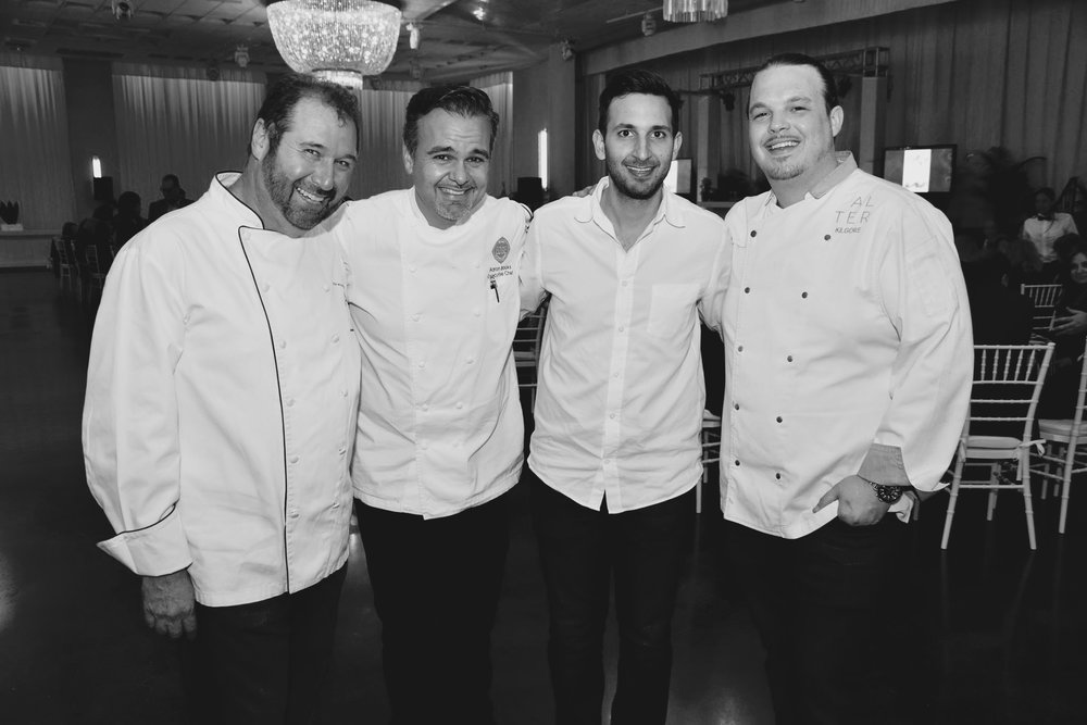 Chef Allen Susser, Chef Aaron Brooks (EDGE Steak & Bar at the Four Seasons,) Chef Sam Gorenstein (My Ceviche,) and Chef Brad Kilgore (Alter in Wynwood and BRAVA at the Arsht Center.)