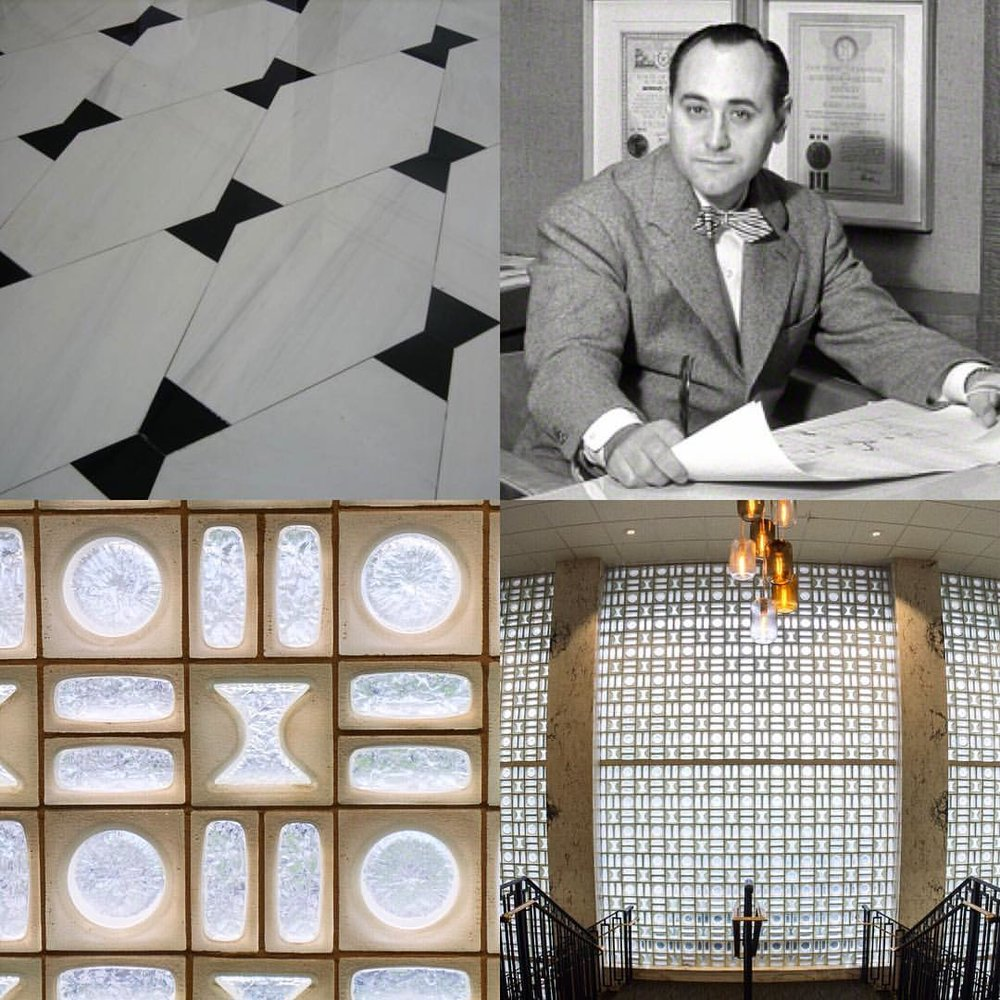 "Morris Lapidus was known for using bow tie shapes in his designs. The Fontainebleau floor features Lapidus's favorite shape (top left,) and the bow tie shape appears as cutouts interspersed with his signature ""cheese hole"" and ""woggle"" shapes in a perfectly symmetrical geometric pattern spanning ELV's entire two story facade! Morris Lapidus himself was frequently pictured wearing bow ties."