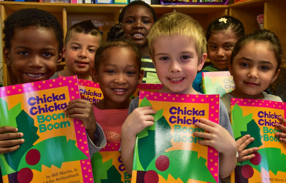 Johnson Elementary pre-k  provides early intervention for a resilient population. Each child receives a book to take home and keep.