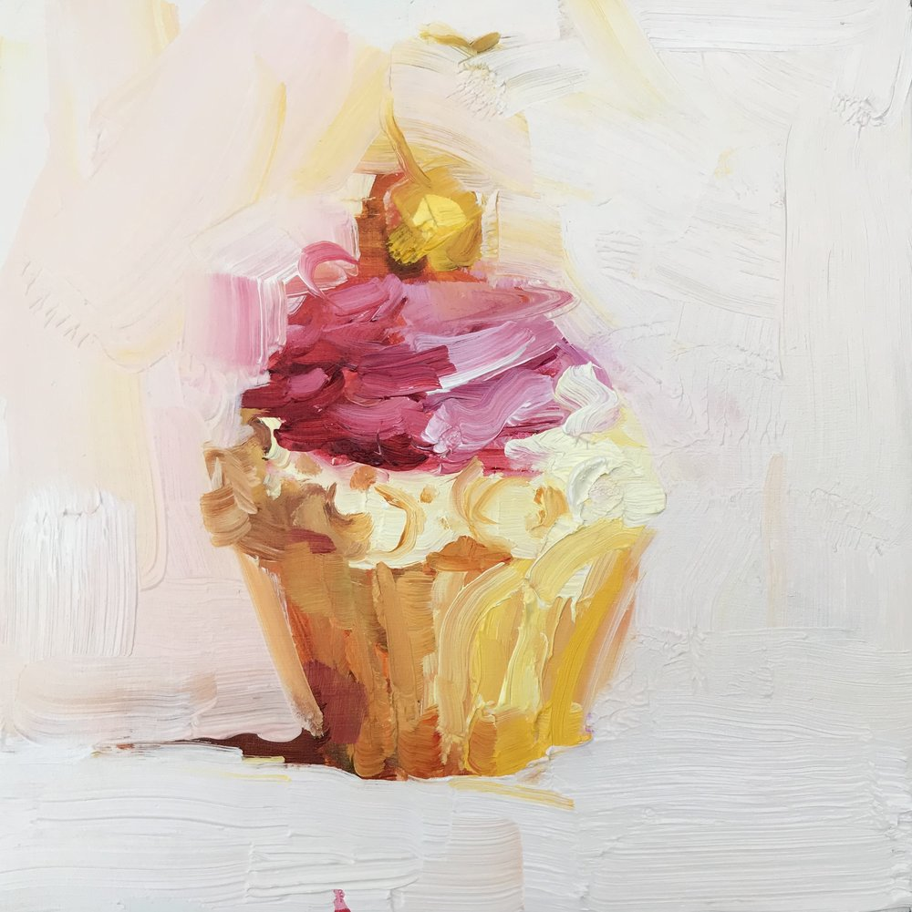 Golden Cherry Cupcake