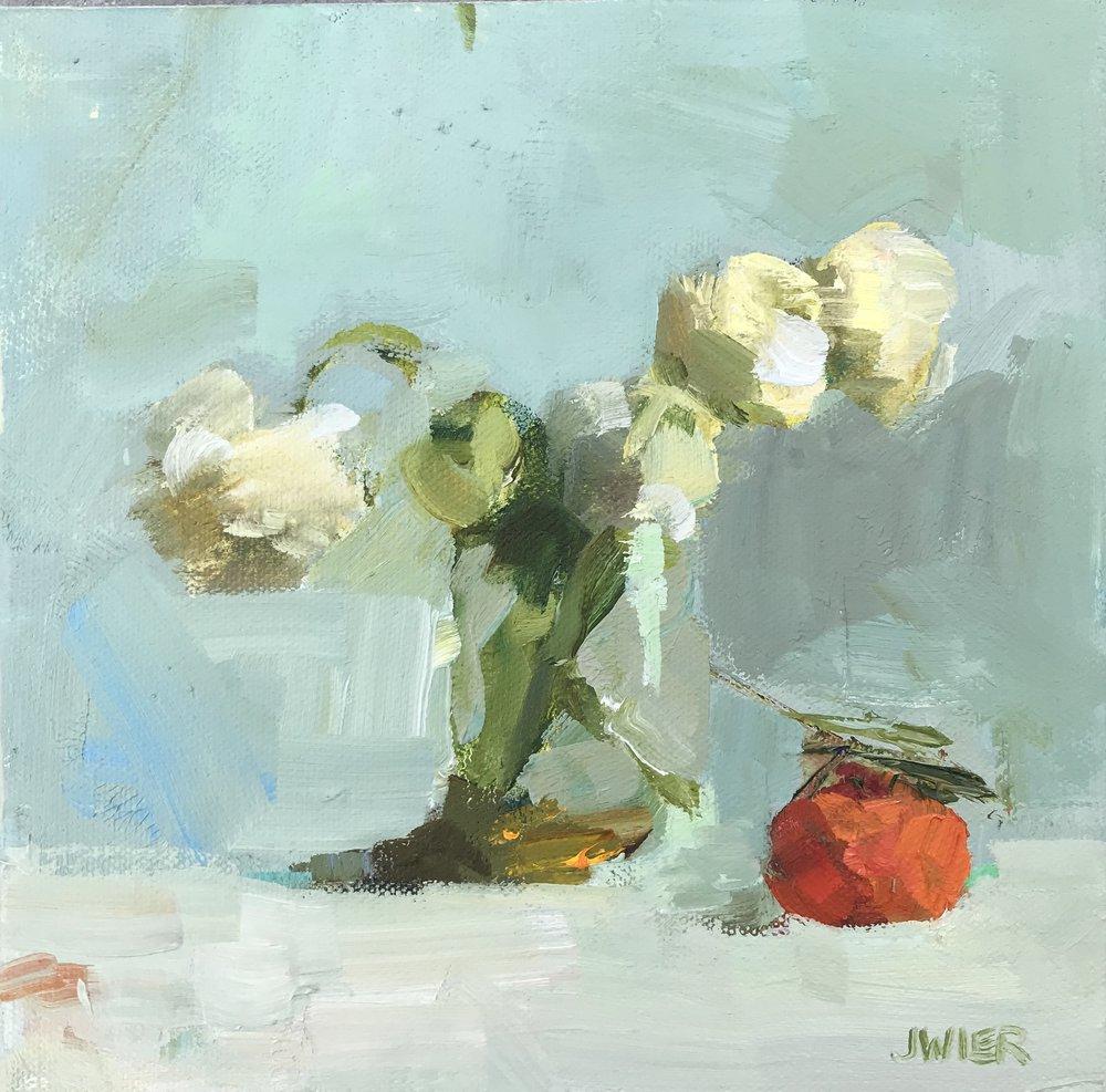 White Ranunculus with Mandarin