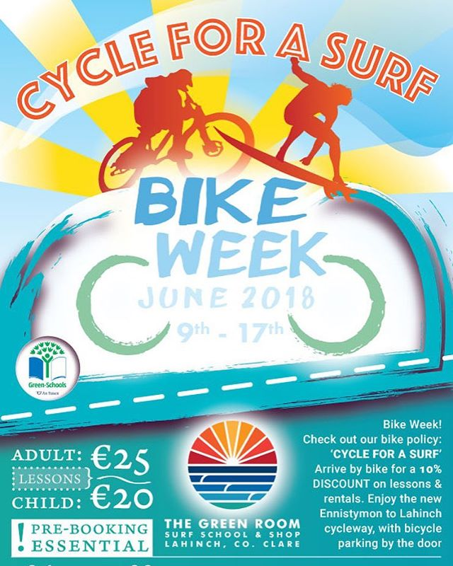 🚴‍♀️🏄‍♂️Bike week 2018🏄‍♂️🚴‍♀️ Come on down on your bicycle for discounted lessons, rentals and more, bike parking available... #bikeweek