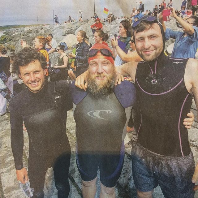 Pat Conway Lahinch to Liscannor swim in aid of the Burren Chernobyl Project. #good work @stefyburger @moyhillfarm and everyone who took part yyyyoowwwzzzaaa 🤙
