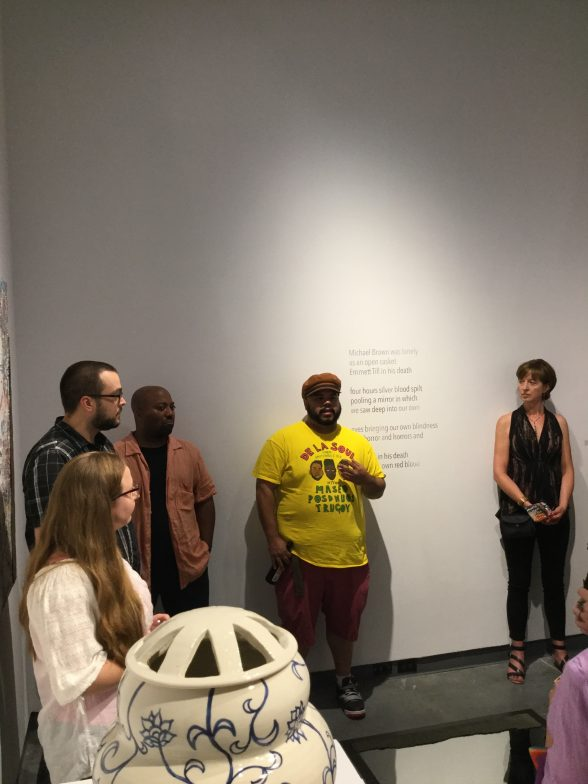 "Roberto Lugo, speaking at ""Jarring"" exhibition, Friday Aug. 4, at the Draper Gallery, The Delaware Contemporary"