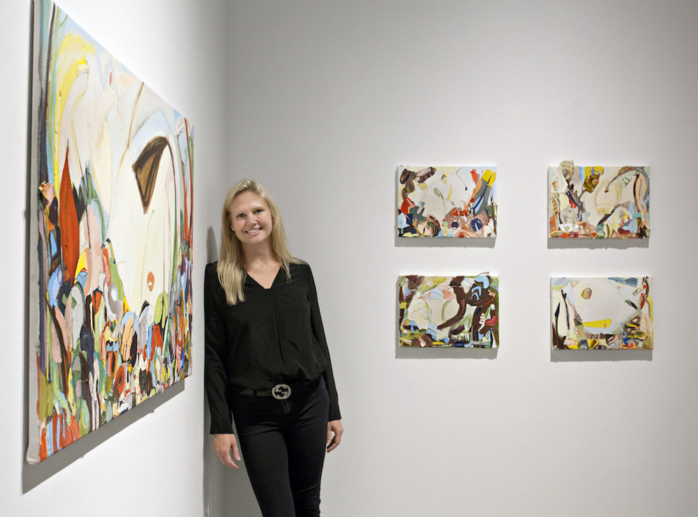 Artist Monique Rollins with her works at The Delaware Contemporary Exhibition