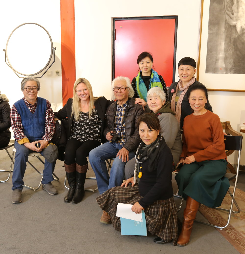 With Chinese senior artists and female artists friends