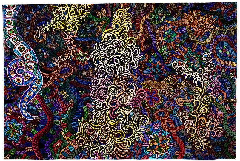 "Mali Mai, 2016   84 "" h x 120 ""   acrylic on canvas by Henry Bermudez.jpg"