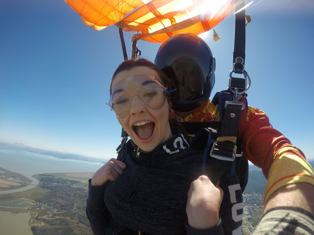 Tandem skydive with views of San Francisco