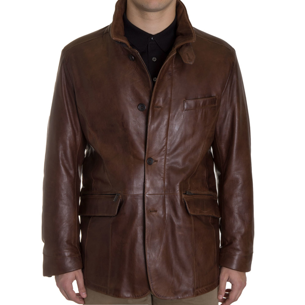 Gimos Tobacco Leather Quilted Barn Coat Khakis Of Carmel