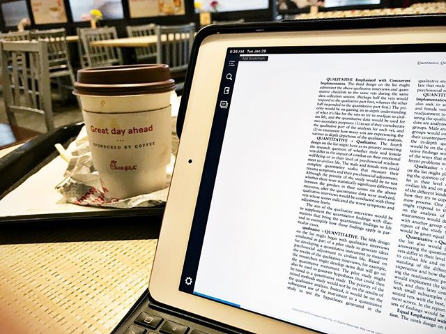 A little breakfast and light reading about qualitative and quantitative research methods while I wait for my car.