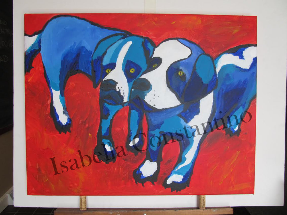 """Dogs in Blue""  Acrylics  2013"