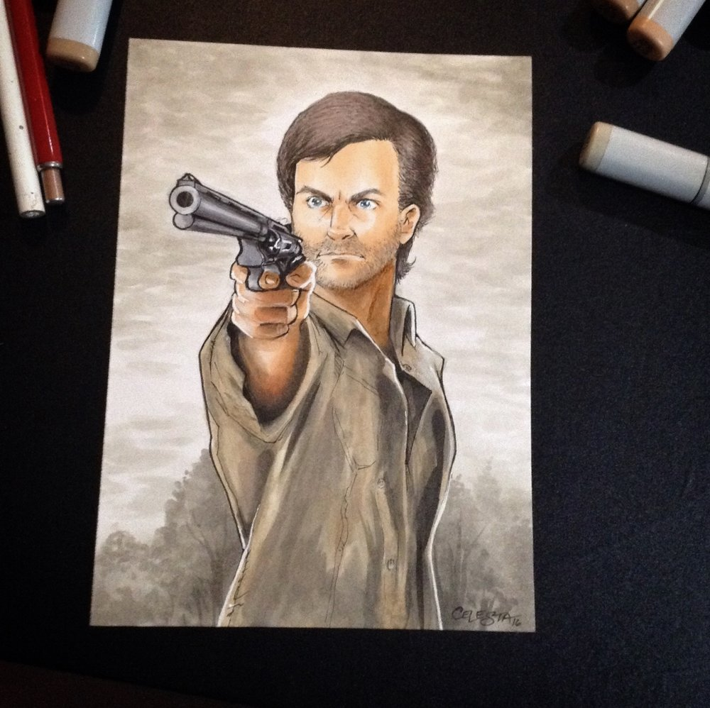 "5""x7"" The Walking Dead cosplay illustration of client as Rick Grimes"