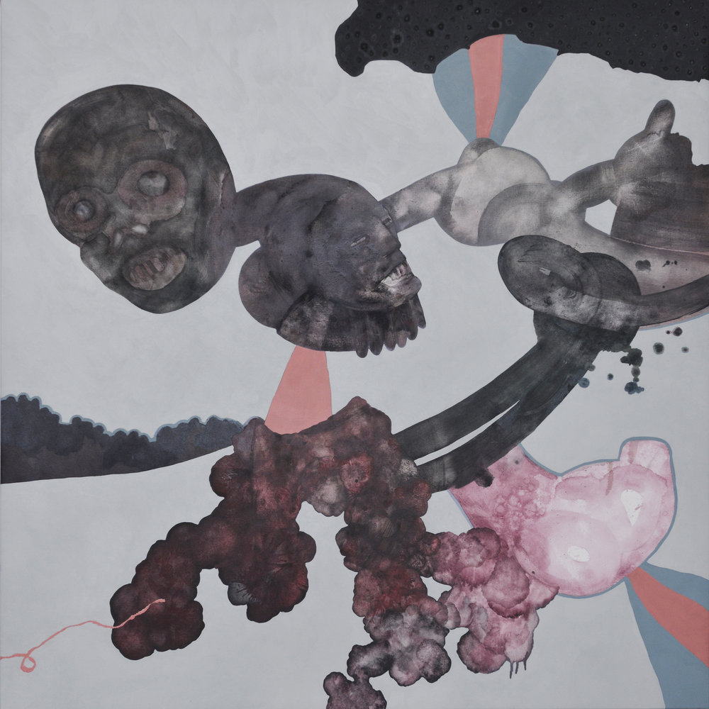 Marc Standing,  The Medicine Men , 2015, oil on canvas, 100 x 100 cm