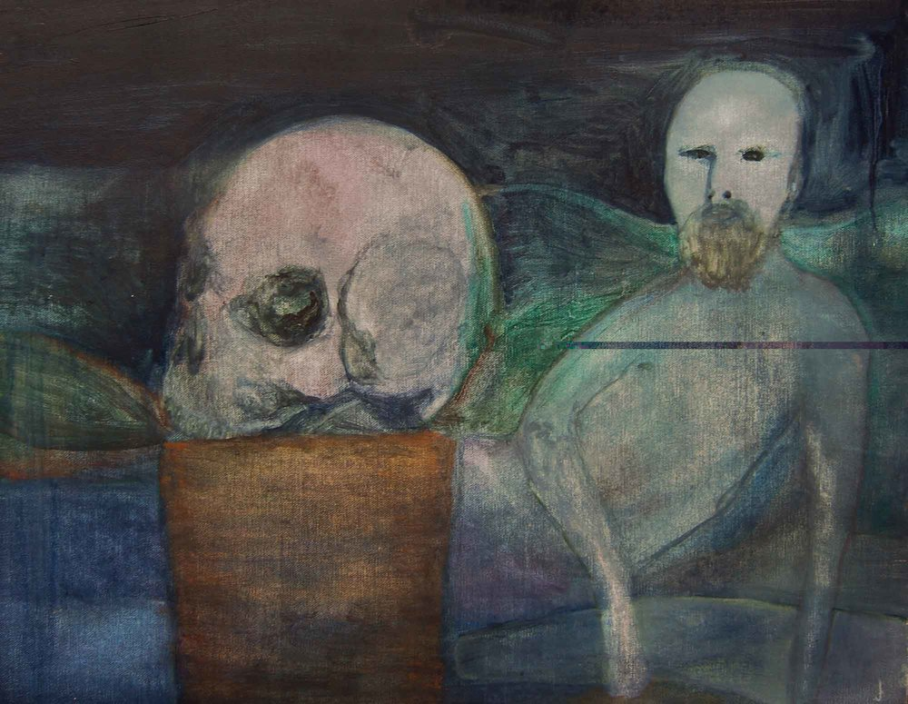 Justin Williams,  Doig with Skull , 2014, oil and raw pigment on canvas, 51 x 63cm