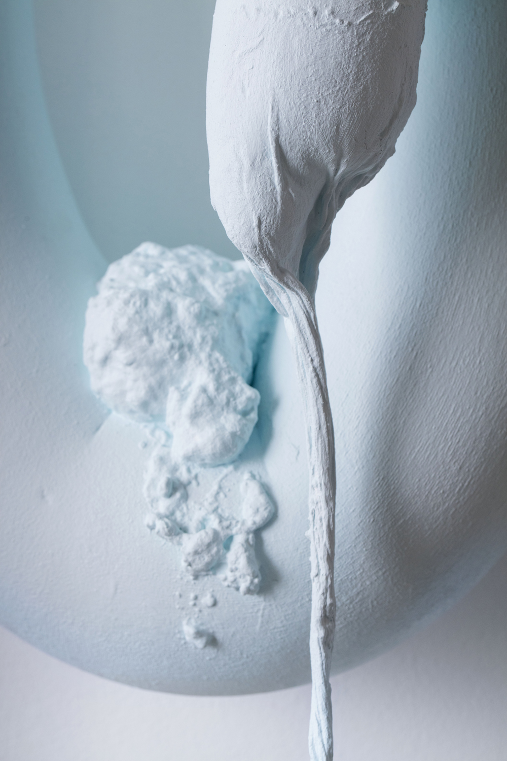 Jayne Dyer,  Sharpness 3 , 2016, polystyrene, plaster, cloth, acrylic, and LED, 70 x 35 x 25cm
