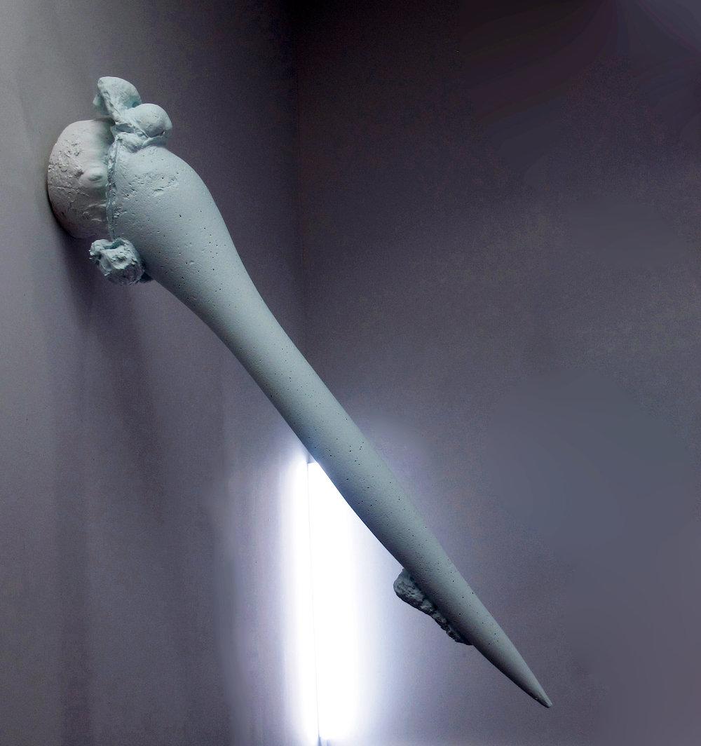 Jayne Dyer, Sharpness 6 , 2016, Polystyrene, plaster, acrylic, LED, 135 x 35cm diameter