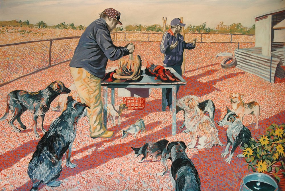 Rod Moss,  Marty Hacking the Morning's Meat , 2011, synthetic polymer paint and graphite on 300gsm Stonehenge paper, 82 x 121cm