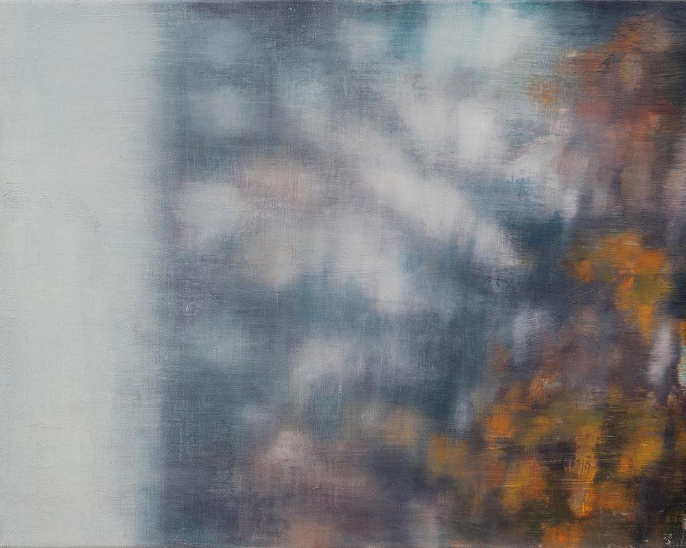 Joanna Logue, Essington - Window II,  2015, oil on linen on board, 40 x 50cm