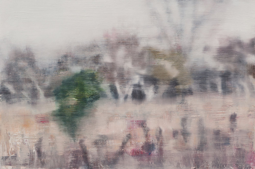 Joanna Logue,  Field - Essington III , 2014, oil on board, 40 x 60cm