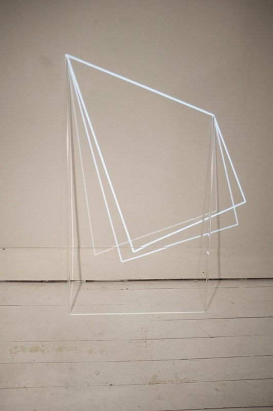 Karyn Taylor,  Analysis of a complex system , 2014, animated projection, acrylic rod, gouache