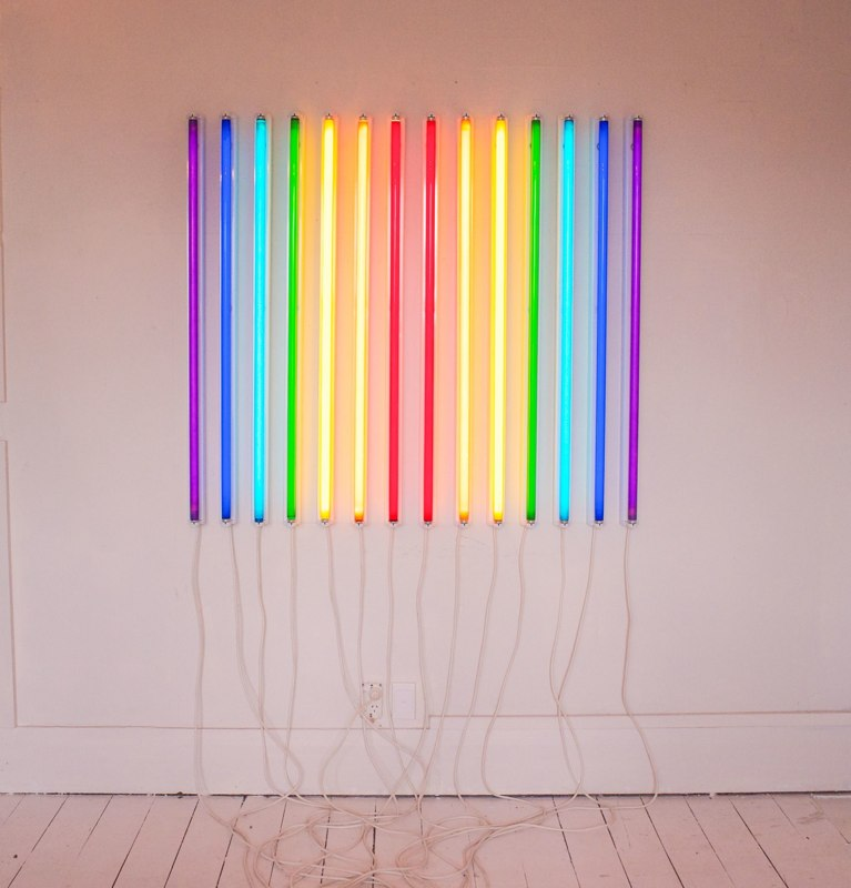 Karyn Taylor,  Jacob's Ladder , 2014, flourescent lights, electronics, movement sensor