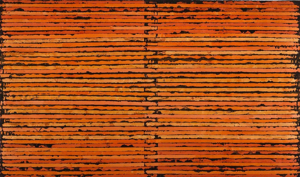 Sam Grigorian,  Orange , 2010, mixed media, décollage, 147 x 250cm