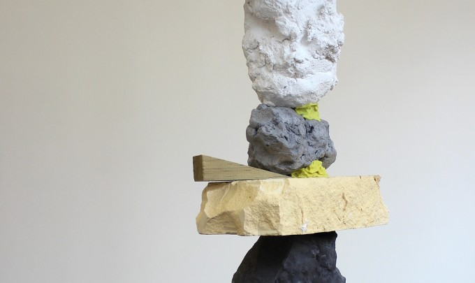 Melanie Upton, Stacked, 2015, Timber, cement, plaster, powder pigment, foil, paper, plasticene, polystyrene, besser block, acrylic, enamel, steel, clamp, dimensions variable