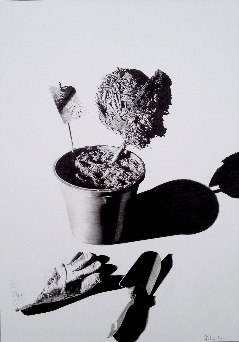 Matt Coyle,  Green Thumb , 2012, pen on paper, 42 x 60cm