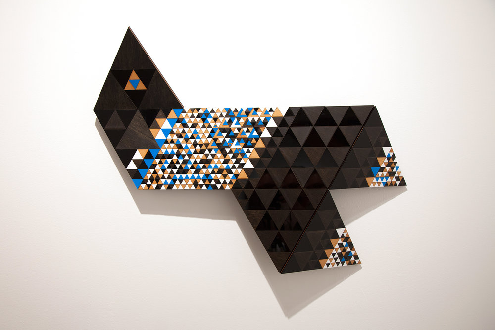 Troy Innocent,  Delta , 2014, laser cut plywood and acylic, 66 x 89cm