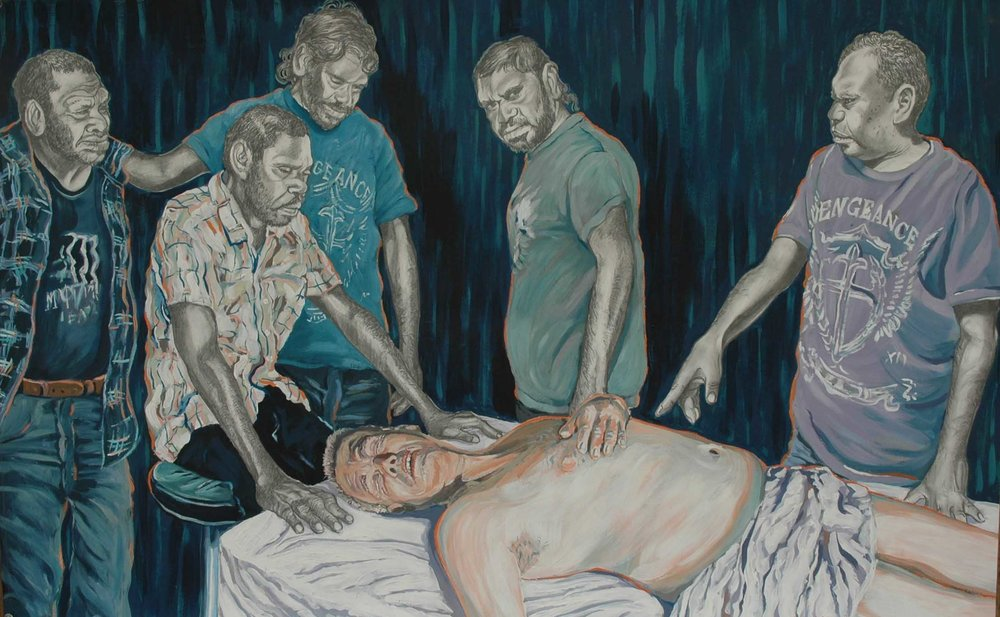 Rod Moss,  Anatomy Lesson , 2012, synthetic polymer paint and graphite on 300gsm Stonehenge paper, 71 x 110cm