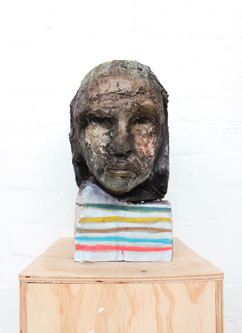 Justin Williams,  Self , 2015, wood, plaster and pigment, 36 x 25cm