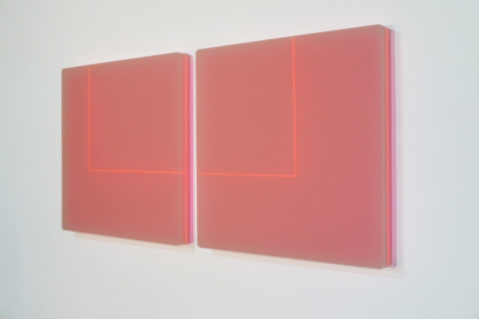 Karyn Taylor,  Time Loop In 2 Parts , 2015, Perspex, 710 x 42 x 6.5cm
