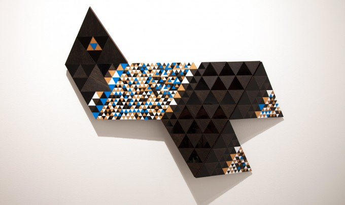Troy Innocent,  Delta , 2014, laser cut plywood and acrylic, 66 x 89cm