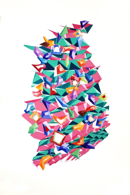 Franky Howell,  Flatpack part b , Gouache on cut paper, inlaid, assemblage, 80 x 140cm