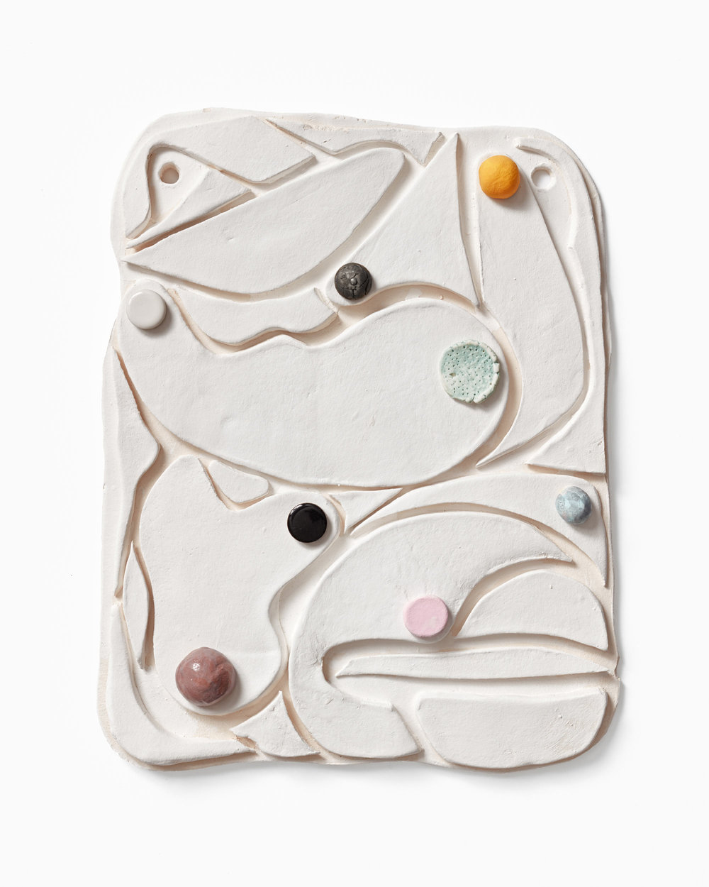 Tai Snaith,  Unconscious Collection , 2016, porcelain, glaze, gouache, watercolour, glaze and circular ceramic tile, 31 x 25cm