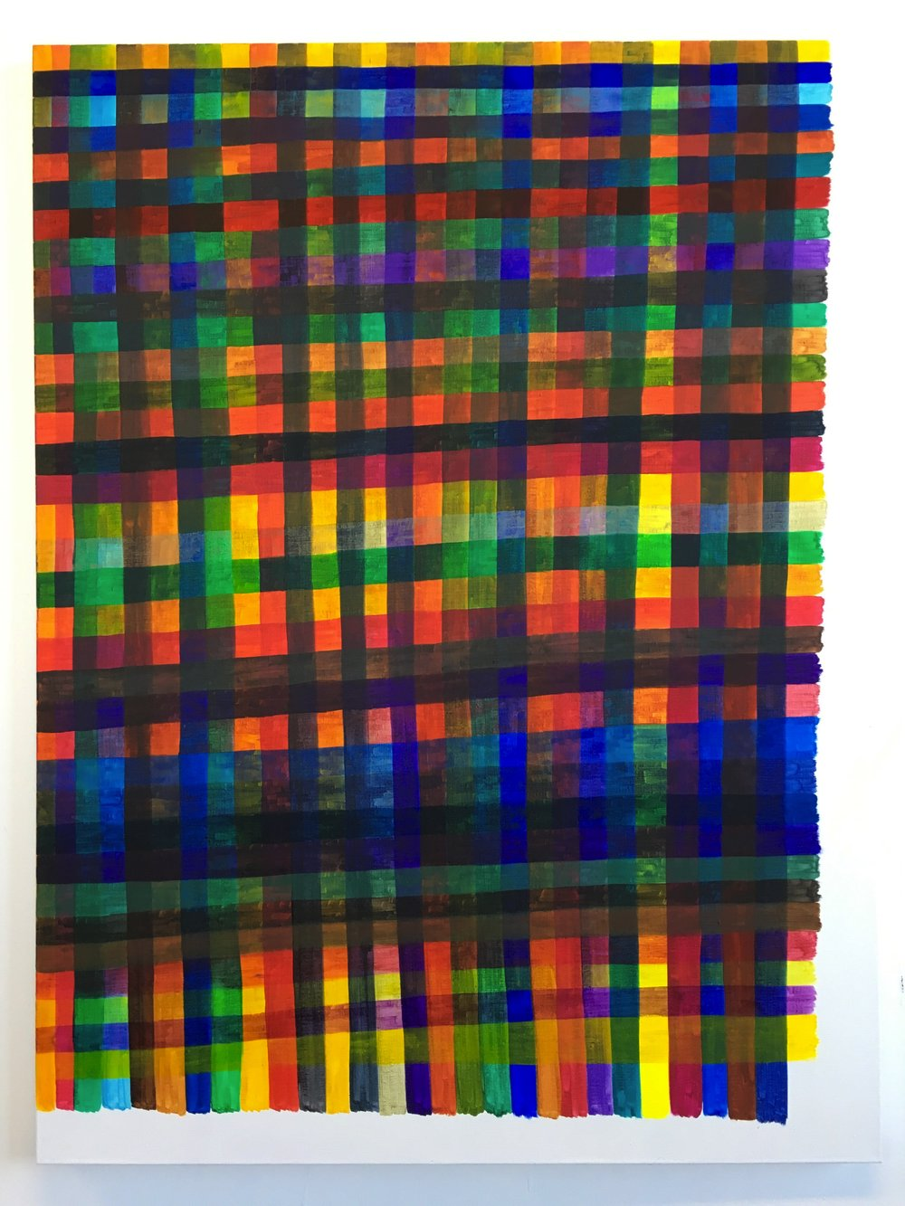 Renee Cosgrave, Lines,  (Transparent Colours) - Colour Chart , 2016, oil on linen, 122 x 91cm
