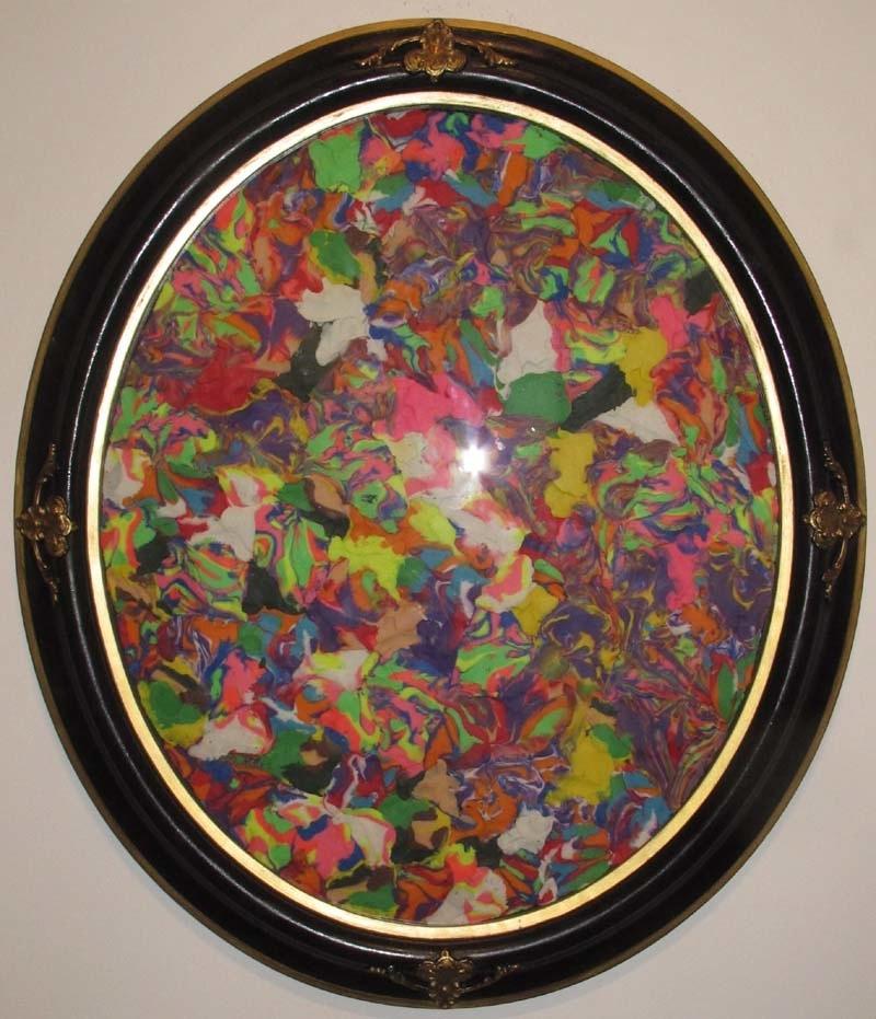 Paul Yore,  Pangaea , 2012, plasticine, wood, 74 x 64cm