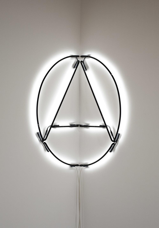 Brad Haylock,  Anarchy Lite , 2011, neon tubing, 120 x 120cm