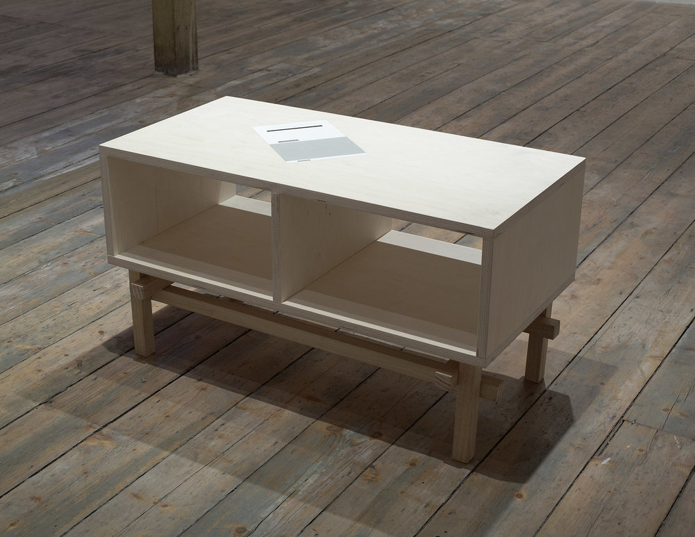 Brad Haylock,  For a hatred of capitalism , 2011, birch plywood, Tasmanian oak timber, acrylic paint, dowel, 78 x 40 x 44cm