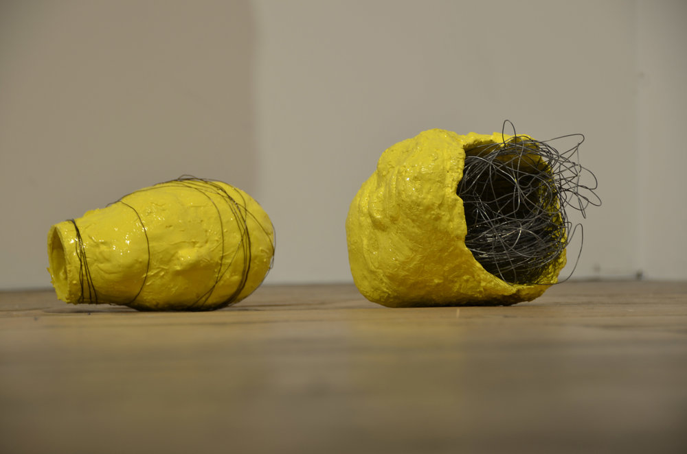 Elisabeth Weissensteiner,  Bound Mind & Open Mind , 2011, concrete, plaster, polyester resin, pigments, wire, 20 x 15cm each approx