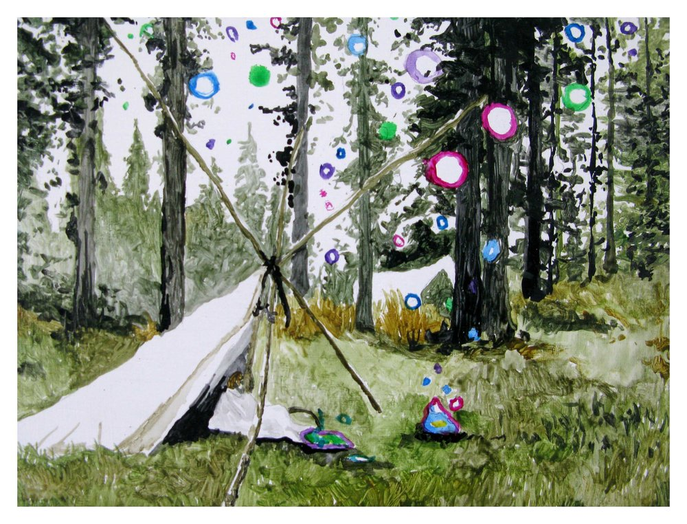 Grant Nimmo,  Camping here and there occasionally  , 2010, oil on German beechwood, 20 x 15cm