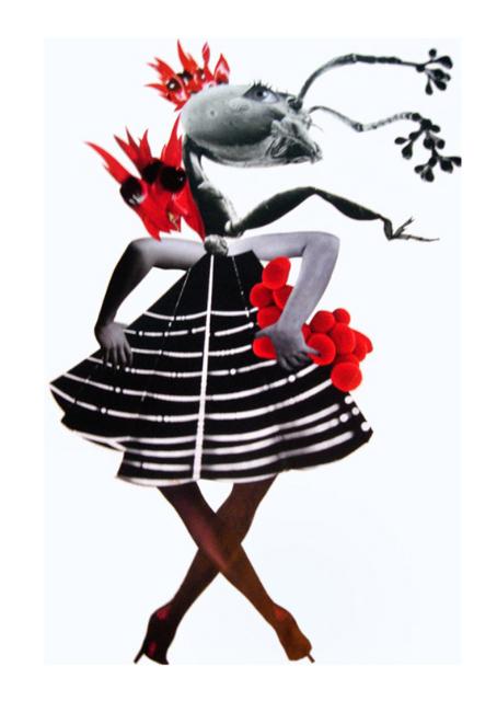 Deborah Kelly,  She eyes the throne , 2009, handmade collage on Italian cotton paper, 80 x 59cm (framed)