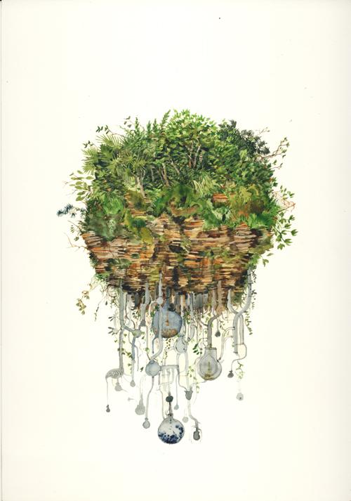 Simon MacEwan,  The Isle Is Full Of Noises , 2011, watercolour on paper, 30 x 21cm